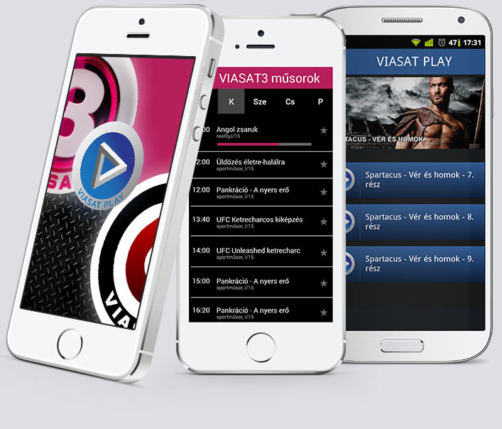 Screens of Viasat Play Mobile by Brandlift